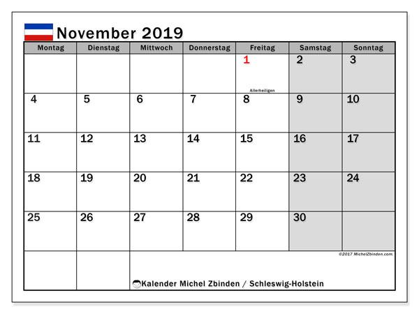 Kalender November 2019, mit den Feiertagen in Schleswig-Holstein. Kalender Feiertage frei zum ausdrucken.