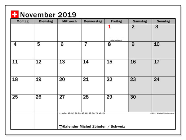 Kalender  November 2019, schweiz