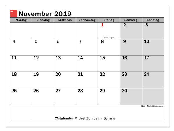 Kalender November 2019, mit den Feiertagen des Kantons Schwyz. Kalender Feiertage frei zum ausdrucken.