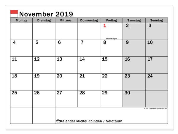 Kalender November 2019, mit den Feiertagen des Kantons Solothurn. Kalender Feiertage frei zum ausdrucken.