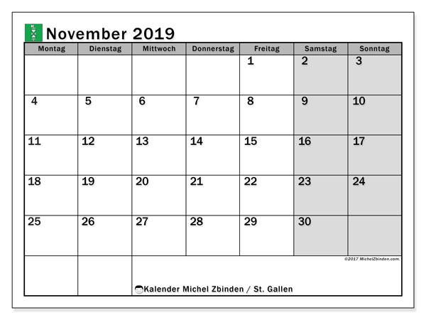 Kalender November 2019, mit den Feiertagen des Kantons St. Gallen. Kalender mit Feiertagen zum kostenlosen ausdrucken.