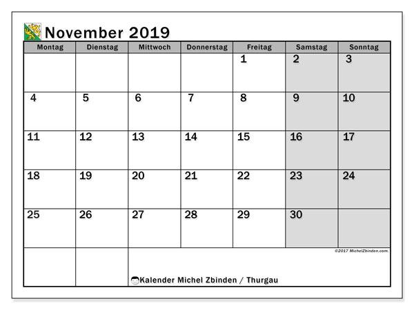 Kalender November 2019, mit den Feiertagen des Kantons Thurgau. Kalender Feiertage frei zum ausdrucken.