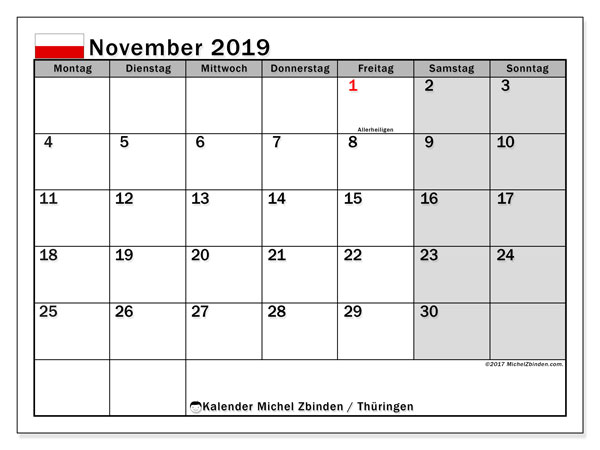 Kalender für November 2019, mit Feiertagen Thüringen. Zeitplan zum kostenlosen ausdrucken.