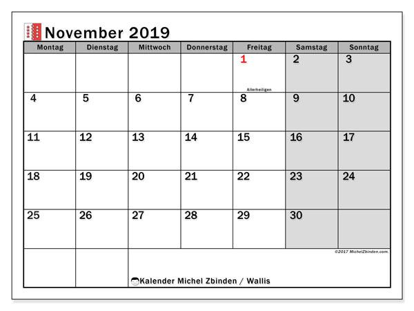 Kalender November 2019, mit den Feiertagen des Kantons Wallis. Kalender mit Feiertagen zum kostenlosen ausdrucken.
