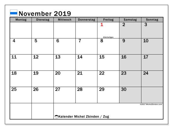 Kalender November 2019, mit den Feiertagen des Kantons Zug. Kalender mit Feiertagen zum kostenlosen ausdrucken.