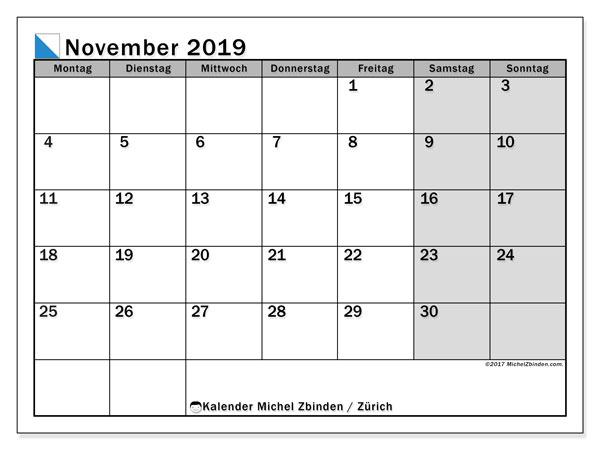 Kalender für November 2019, mit Feiertagen des Kantons Zürich. Monatskalender zum kostenlosen ausdrucken.