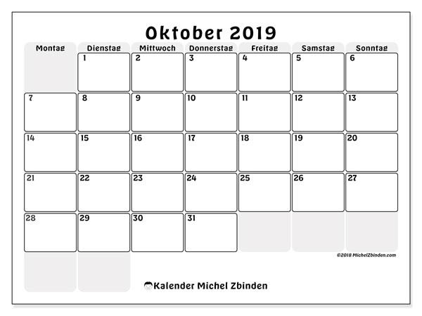 Kalender Oktober 2019, 44MS. Kostenloser Planer zum ausdrucken.