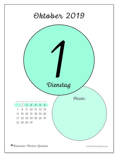 Kalender Oktober 2019, 45-1MS. Täglicher Kalender zum kostenlosen ausdrucken.