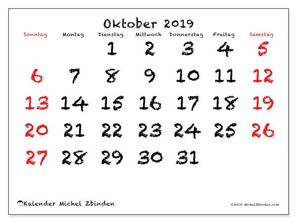 Kalender Oktober 2019, 46SS. Kalender zum kostenlosen ausdrucken.