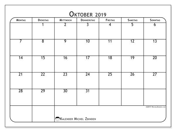 Kalender Oktober 2019, 51MS. Kostenloser Kalender zum ausdrucken.