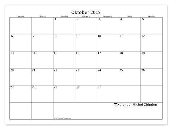 Kalender Oktober 2019, 53SS. Monatlicher Zeitplan zum kostenlosen ausdrucken.