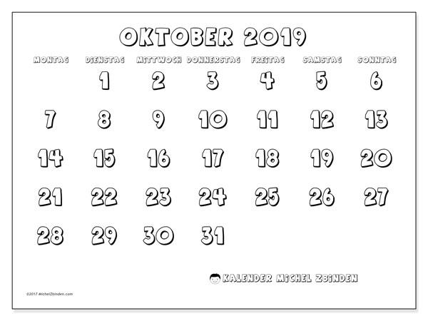 Kalender Oktober 2019, 56MS. Kalender zum kostenlosen ausdrucken.