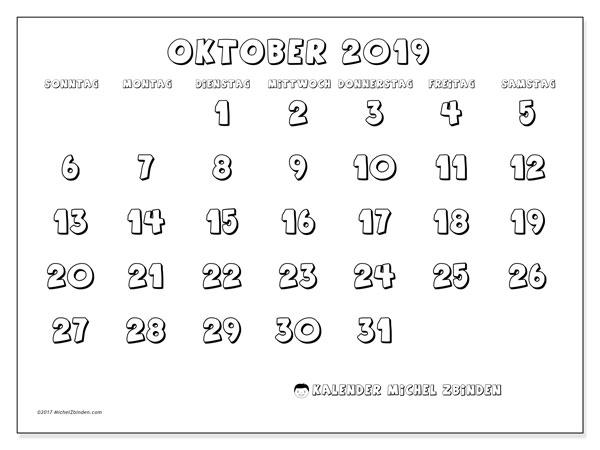 Kalender Oktober 2019, 56SS. Monatskalender zum kostenlosen ausdrucken.