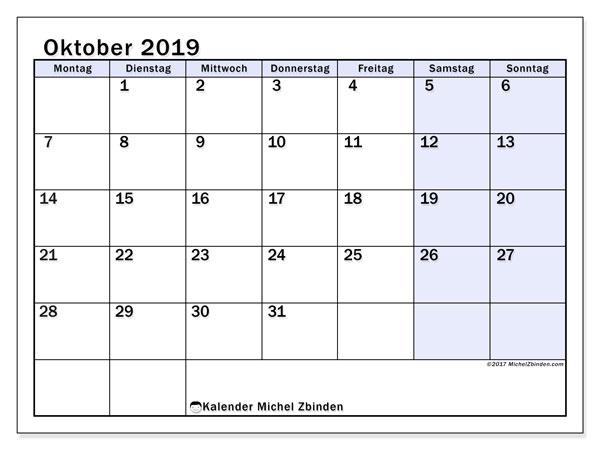 Kalender Oktober 2019, 57MS. Kostenlos ausdruckbare Zeitplan.