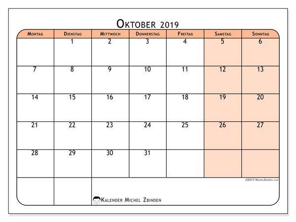 Kalender Oktober 2019, 61MS. Monatlicher Zeitplan zum kostenlosen ausdrucken.