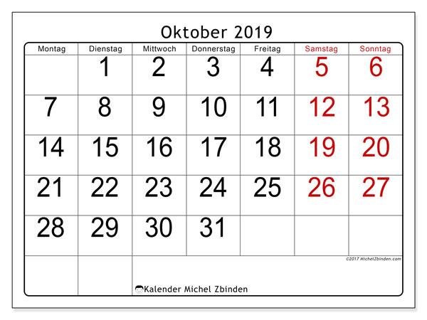 Kalender Oktober 2019, 62MS. Monatskalender zum kostenlosen ausdrucken.