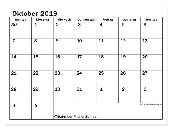 Kalender Oktober 2019, 66MS. Monatlicher Kalender zum kostenlosen ausdrucken.