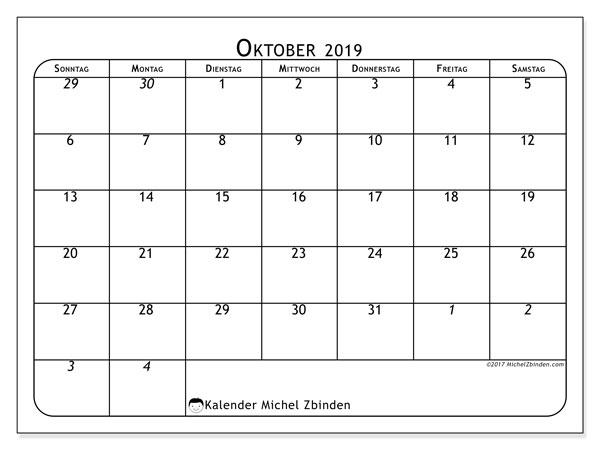 Kalender Oktober 2019 (67SS). Planer zum kostenlosen ausdrucken.