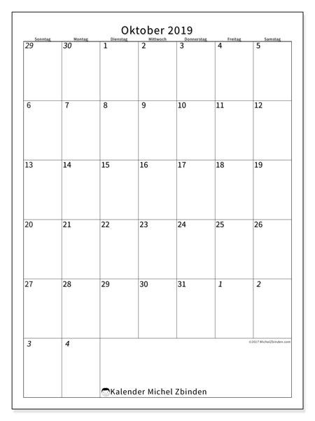 Kalender Oktober 2019 (68SS). Kostenloser Planer zum ausdrucken.