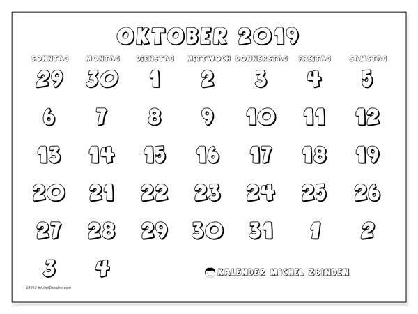 Kalender Oktober 2019 (71SS). Monatlicher Kalender zum kostenlosen ausdrucken.