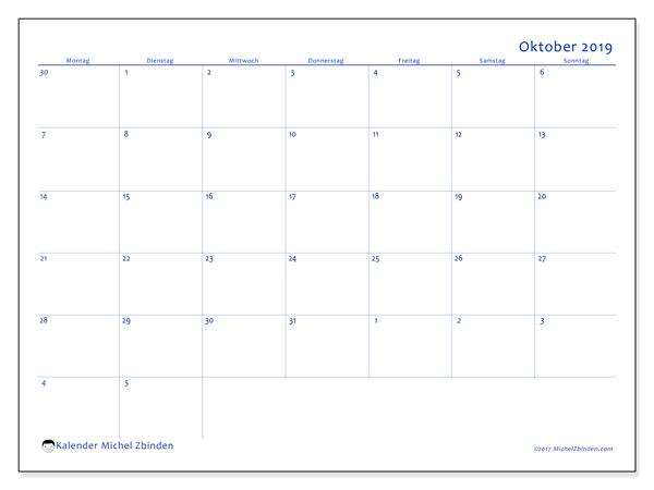 Kalender Oktober 2019, 73MS. Kostenloser Zeitplan zum ausdrucken.