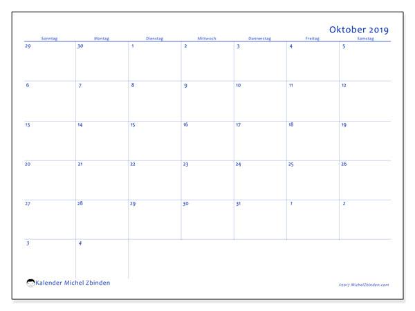 Kalender Oktober 2019 (73SS). Kalender für den Monat zum kostenlosen Ausdrucken.