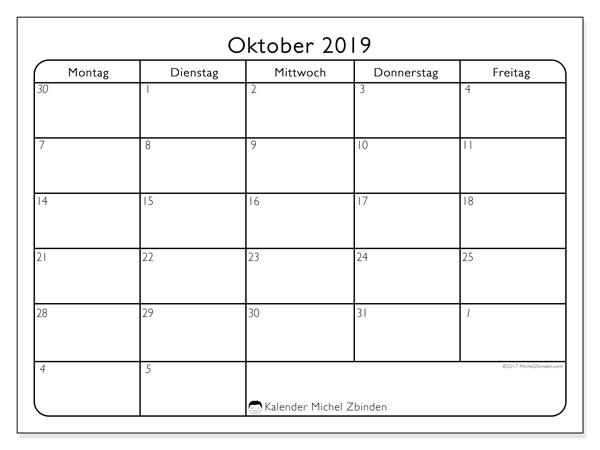 Kalender Oktober 2019 (74MF). Kostenlos ausdruckbare Kalender.