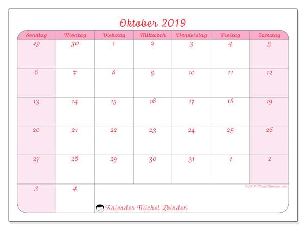 Kalender Oktober 2019 (76SS). Kalender zum kostenlosen ausdrucken.