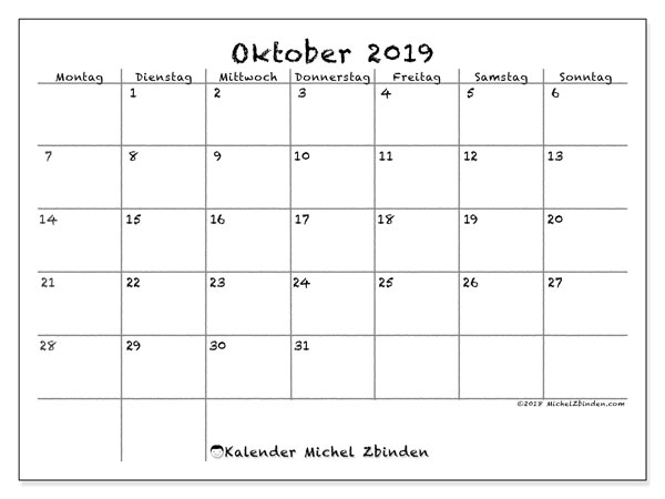Kalender Oktober 2019, 77MS. Kalender für den Monat zum kostenlosen ausdrucken.