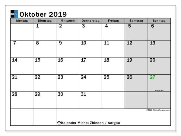 Kalender Oktober 2019, mit den Feiertagen des Kantons Aargau. Kalender Feiertage frei zum ausdrucken.