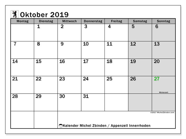 Kalender Oktober 2019, mit den Feiertagen des Kantons Appenzell Innerrhoden. Kalender mit Feiertagen zum kostenlosen ausdrucken.