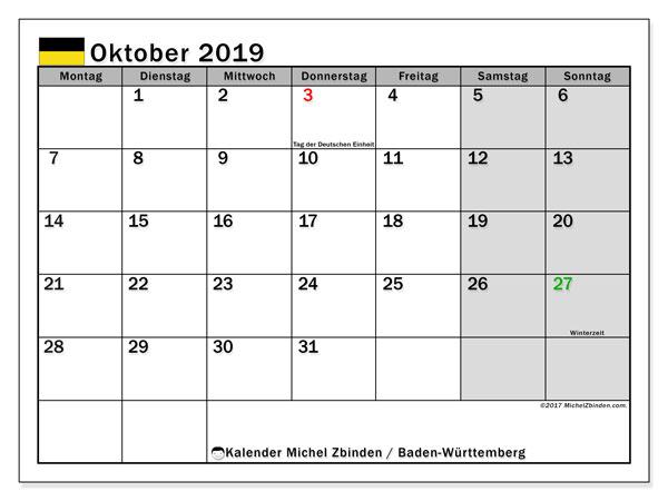 Kalender Oktober 2019, mit den Feiertagen in Baden-Württemberg. Kalender mit Feiertagen zum kostenlosen ausdrucken.