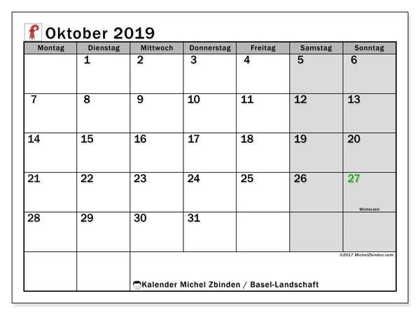 Kalender Oktober 2019, mit den Feiertagen des Kantons Basel Landschaft. Kalender mit Feiertagen zum kostenlosen ausdrucken.