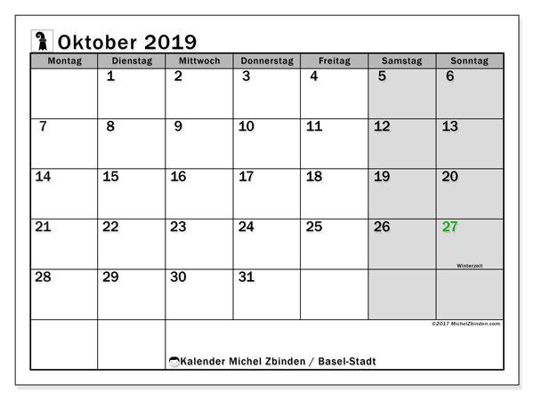 Kalender für Oktober 2019, mit Feiertagen des Kantons Basel Stadt. Monatskalender zum kostenlosen ausdrucken.