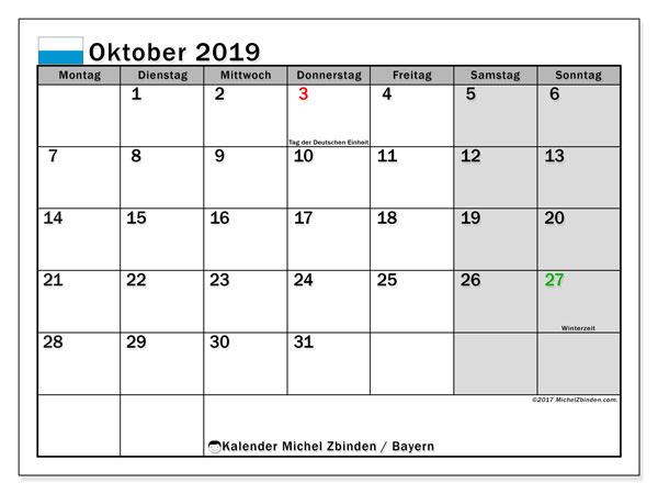 Kalender Oktober 2019, mit den Feiertagen von Bayern. Kalender mit Feiertagen zum kostenlosen ausdrucken.