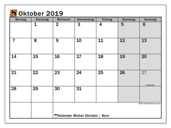 Kalender Oktober 2019, mit den Feiertagen des Kantons Bern. Kalender mit Feiertagen zum kostenlosen ausdrucken.