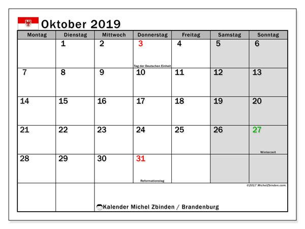 Kalender für Oktober 2019, , mit Feiertagen Brandenburg. Monatlicher Zeitplan zum kostenlosen ausdrucken.