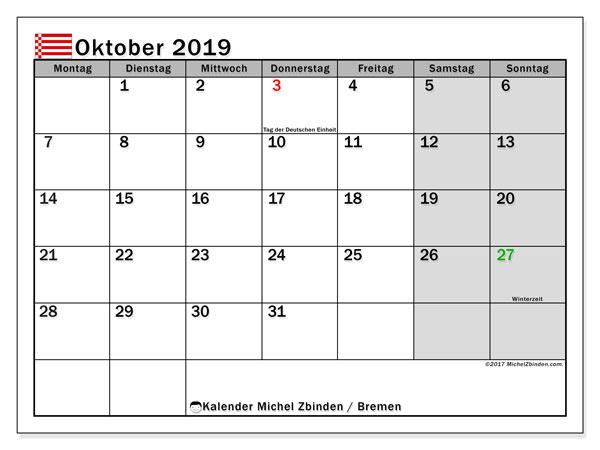 Kalender für Oktober 2019, , mit Feiertagen Bremen. Monatlicher Zeitplan zum kostenlosen ausdrucken.