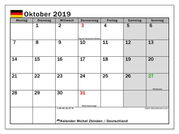 Kalender für Oktober 2019, , mit Feiertagen Deutschland. Kostenloser Zeitplan zum ausdrucken.