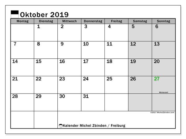 Kalender für Oktober 2019, , mit Feiertagen des Kantons Freiburg. Kalender für den Monat zum kostenlosen Ausdrucken.