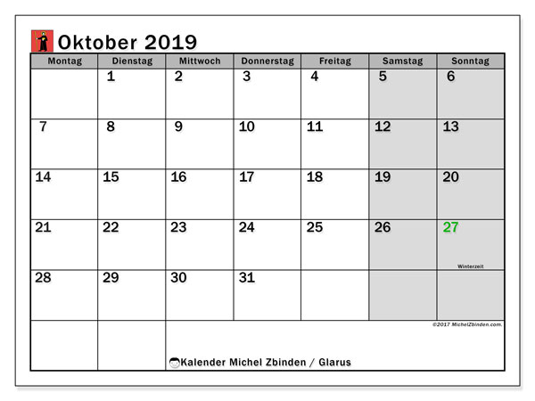 Kalender Oktober 2019, mit den Feiertagen des Kantons Glarus. Kalender mit Feiertagen zum kostenlosen ausdrucken.