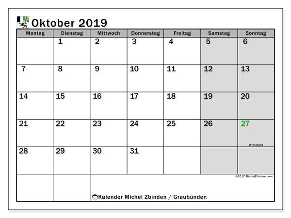 Kalender Oktober 2019, mit den Feiertagen des Kantons Graubünden. Kalender mit Feiertagen zum kostenlosen ausdrucken.
