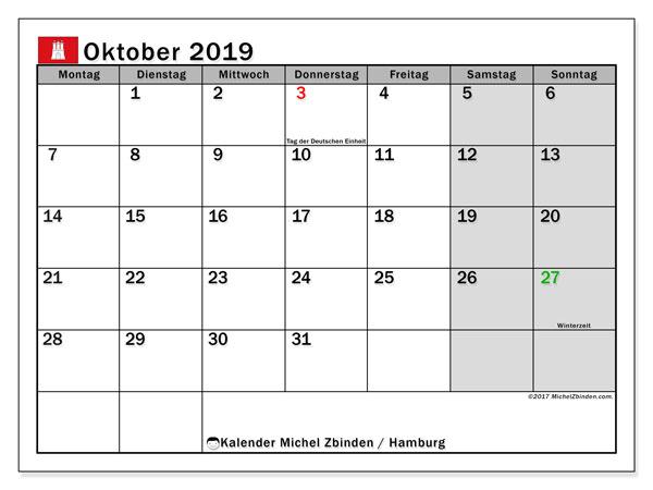 Kalender Oktober 2019, mit den Feiertagen in Hamburg. Kalender Feiertage frei zum ausdrucken.