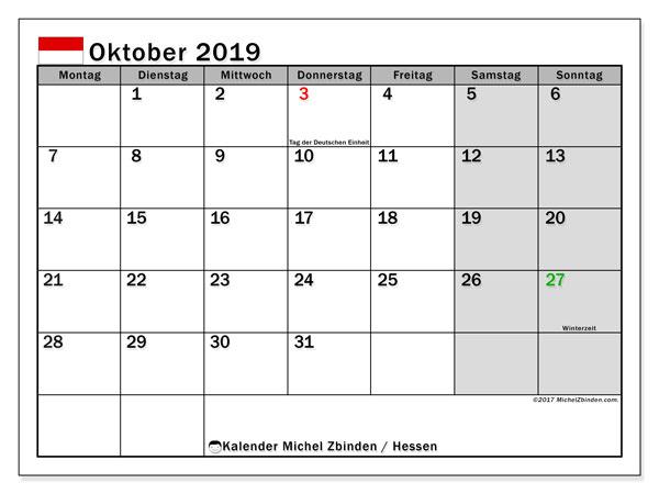 Kalender für Oktober 2019, mit Feiertagen Hessen. Kostenloser Planer zum ausdrucken.