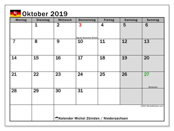 Kalender Oktober 2019, mit den Feiertagen in Niedersachsen. Kalender mit Feiertagen zum kostenlosen ausdrucken.