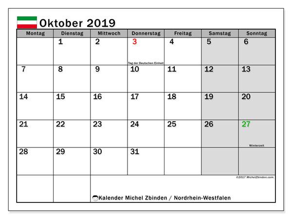 Kalender Oktober 2019, mit den Feiertagen in Nordrhein-Westfalen. Kalender Feiertage frei zum ausdrucken.