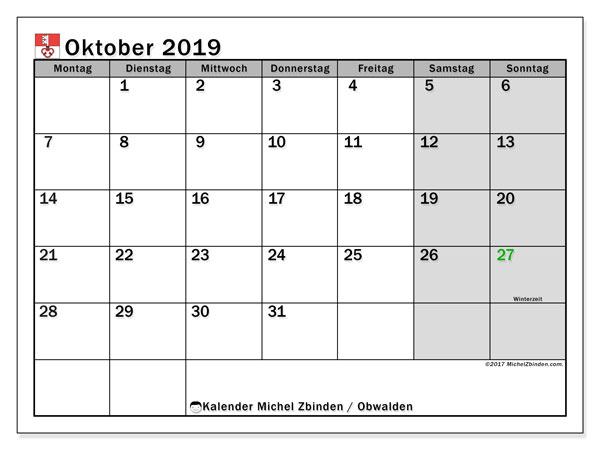 Kalender Oktober 2019, mit den Feiertagen des Kantons Obwalden. Kalender mit Feiertagen zum kostenlosen ausdrucken.