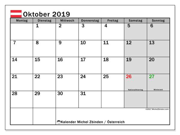 Kalender für Oktober 2019, mit Feiertagen in Österreich. Kostenloser Planer zum ausdrucken.