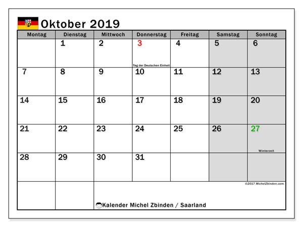 Kalender Oktober 2019, mit den Feiertagen des Saarlandes. Kalender mit Feiertagen zum kostenlosen ausdrucken.