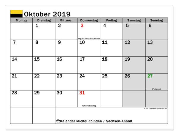 Kalender für Oktober 2019, , mit Feiertagen Sachsen-Anhalt. Kostenloser Kalender zum ausdrucken.